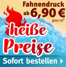 Fahnendruck: Tauschen Sie Ihre Hissfahnen - ab 6,90 €/m² netto