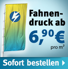 Fahnendruck: Bannerfahnen mit eigenen Motiven ab - ab 6,90 €/m² netto